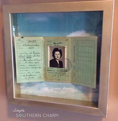 Shadow box display for an old passport.  #vintagedecor #passportphoto Meaningful Gallery Wall | Simple Southern Charm