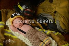 New Character Cotton Baby Newborn Photography Props Costume Hand Crochet Knit Infant Fireman Hat pants and shoes