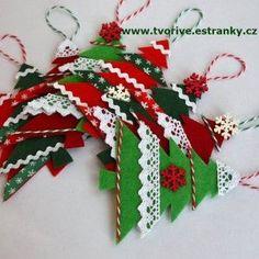 Stránky pro tvořivé - malé i velké - Vánoce - Vánoční stromečky - ozdobičky z filcu a krajky