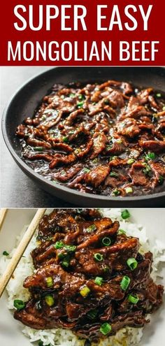 beef recipes Best authentic easiest mongolian beef - Mongolian beef is an easy and fast stir-fry recipe with tender flank steak beef slices and a bold sticky sauce with a hint of spiciness. Its served with steamed rice or noodles. Just like PF Changs. Mongolian Beef Recipe Pf Changs, Easy Mongolian Beef, Mongolian Beef Recipes, Mongolian Beef Noodles Recipe, Stir Fry Recipes, Healthy Recipes, Ground Beef, Lasagna, Vegetarische Rezepte