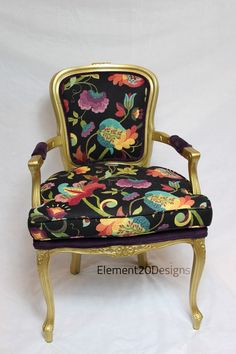 SOLD PAIR of Purple Velvet and Black Large Floral by Element20