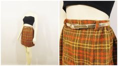 SALE Vintage Skirt 60s Mad Men Era Plaid Mini Skirt The Villager Brown Yellow Orange Coral Size 8 Modern Extra Small to Small
