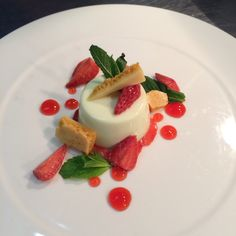 Basil Panna Cotta, Strawberries, Honeycomb