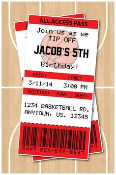 basketball birthday party invitations chicago bulls any team available - Basketball Party Invitations