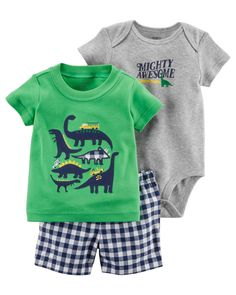 4803645e7 Baby Boy 3-Piece Little Short Set | Carters.com Dinosaur Design, Carters