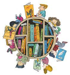 The Library, a world of books to share / La Biblioteca, un mundo de libros para compartir (ilustración de David Pintor)