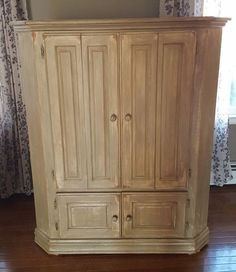Distressed light wood corner TV cabinet