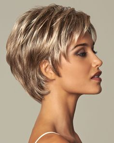 The all-over layers of this short shag can be worn brushed smooth or finger combed for texture. Try it now for yourself, available at BeautyTrends.
