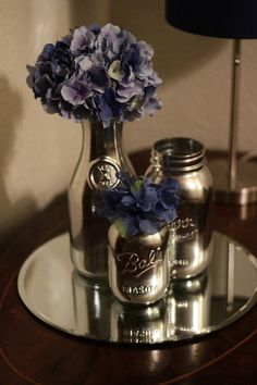 "Mason jar spray painted with Krylon's ""Looking Glass"" spray @ DIY Home Crafts"