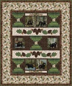 WOODLAND BEARS FLANNEL QUILT KIT
