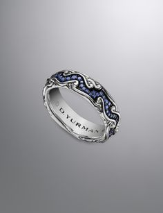Waves Band Ring, Pave Sapphires, 7mm