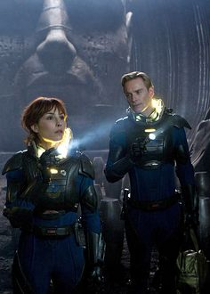 Elizabeth Shaw and David - Noomi Rapace and Michael Fassbender in Prometheus (2012).