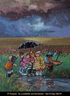 Dig: 18299 - Pauline Paquin Umbrella Art, Under My Umbrella, Art Fantaisiste, Happy Art, Whimsical Art, Rainy Days, Make You Smile, Childhood Memories, Illustrations