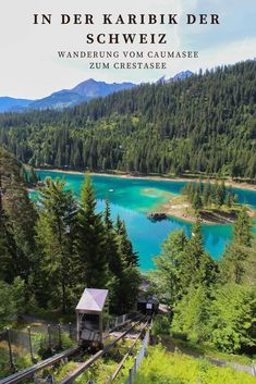 Wanderung vom Caumasee zum Crestasee The Caribbean of Switzerland: From Lake Cauma to Lake Cresta in Swiss Travel, Destinations, Camping Holiday, Reisen In Europa, World Photography, Travel Goals, Wilderness, Places To Go, Camino De Santiago