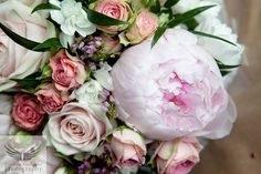 spray roses peony ruscus pink bouquet
