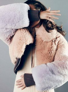 pastel patchwork fur jacket.