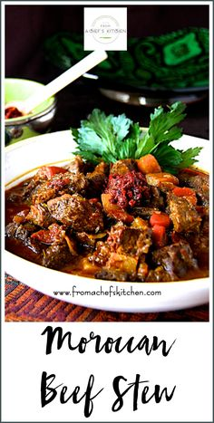 Moroccan Beef Stew Moroccan Beef Stew is hearty, flavorful and perfect for a chilly night! It's perfect slowly simmered on the stovetop, in the oven or pressure cooker. Moroccan Beef Stew, Moroccan Tagine Recipes, Moroccan Dishes, Moroccan Food Recipes, Veal Recipes, Stew Meat Recipes, Beef Tagine Recipes, Stewing Beef Recipes, Beef Stew Crockpot Easy