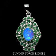 AMAZING OVAL CAB HOT RAINBOW FIRE OPAL,GREEN EMERALD STERLING 925 SILVER PENDANT