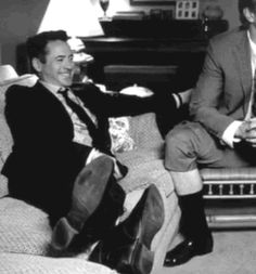 "Robert Downey Jr. laughing with Dax Shepard and nearly falling off a couch in ""Inside 'The Judge'"" (Blu-Ray extras with ""The Judge"")."