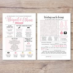 Funny Infographic Wedding Program, Fun Wedding Program, Word Search, Mad Libs, W. Wedding Programs Wording, Wedding Advice Cards, Unique Wedding Programs, Wedding Ceremony Programs, Unique Weddings, Wedding Cards, Wedding Ideas, Boho Wedding, Summer Wedding