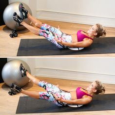 "Lie flat on your back, then curl your shoulders, chest, and head off the floor as you bring your straight legs to a 45-degree angle off the floor. (For more advanced results, try lifting your arms up by your sides as well.) Maintaining this position, crisscross your legs continuously for one minute of ""flutter kicks."" Reps: Kick continuously for one minute."