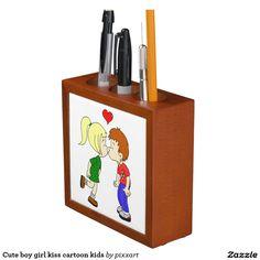 Cute boy girl kiss cartoon kids Pencil/Pen holder
