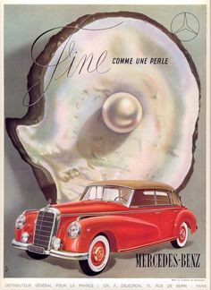 "CARS Advertising  -  ""FINE, Comme une Perle, Mercedes-Benz""  -  Original Vintage Car Poster, '40s"