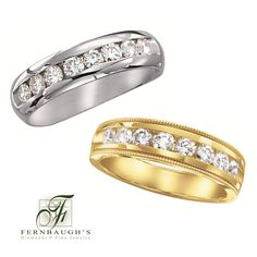 14K White or Yellow Gold Men's Wedding Bands available in 1/4, 1/2 or 1 carat total weight (25A)(25B)