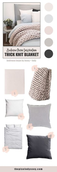 Bedroom Decor Inspiration - Chunky, Thick Knit Blanket Style in Blush, Taupe, Gray, and Charcoal