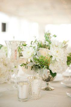 #mercury glass, #romantic #tablescape | Santa Monica Wedding from Heather Kincaid  Read more - http://www.stylemepretty.com/california-weddings/2013/08/19/santa-monica-wedding-from-heather-kincaid/