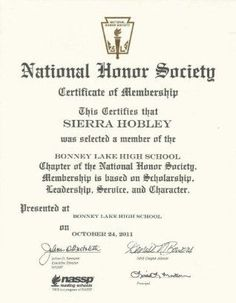 national honor society certificate of membership sierra hobley