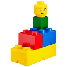 omg!  several sizes of lego shaped lego storage boxes (including heads!) that stack at the container store.