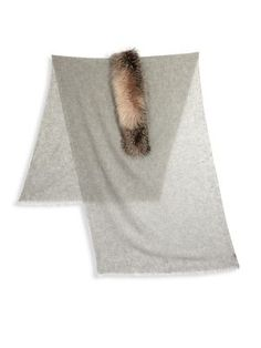 BRUNELLO CUCINELLI Cashmere and Fox Fur Trim Scarf. #brunellocucinelli #