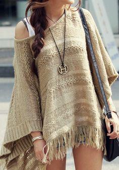 Fringe Hem Knit Cape #cape #sweater