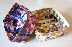 Add some color to your old woven baskets with these DIY Recycled Magazine Baskets