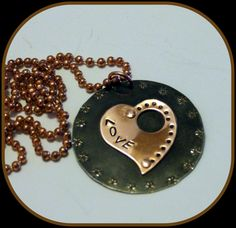 Vintaj black and copper pendant hand stamped by BeadsnSteeds, $14.00