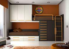 Habitación Infantil: HABITACION INFANTIL 610-09 | Habitación infantil sistema tren con 2 camas útiles y con gran capacidad de armarios y