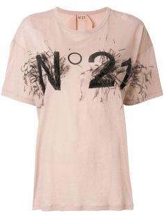 T-Shirt Feather Logo Blush N21, Summer Sale, Brand You, Shop Now, Women Wear, Short Sleeves, Logos, Mens Tops, Cotton
