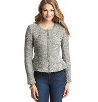 """Knit Tweed Peplum Jacket - To get this marvelously ladylike peplum piece, we crossed the softness of a cotton blend knit with the irresistible cute of a tweed texture – and then added a zip front for modern edge. Scoop neck. Long sleeves. Covered zip front. Peplum hem. Lined. 21 1/2"""" long."""