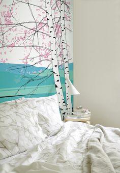 Kaiku Wall Mural Blue/Pink/White