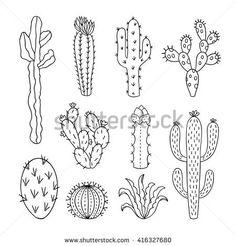 vectorsicon.com Download vector icons - Cactus vector illustrations. Hand drawn outline cactus set. Cactus plants nature elements
