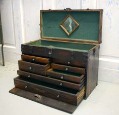 Vintage Oak Machinist Tool Chest Box
