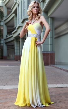 Yellow and White Sweetheart Evening Dress  £195.00     Alluring evening dress in dual tone colours of canary yellow and ivory white featuring sweetheart A Line silhouette, full length chiffon overlay skirt, embellished belted waist, and ruchedstructured bodice. Send us a message to inquire about plus sizes or if you want this dress for another colour. :)