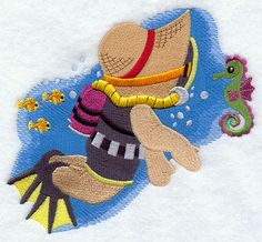 ** Scuba Fisherman Fred  Block Of The Month Pattern Used As Applique Quilt @emlibrary