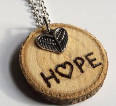 H♥PE Woodburn design Essential Oil Diffuser Necklace Made with Magnolia Wood by LowcountryEclectic $15.00 FREE SHIPPING!!