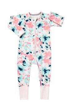 Bonds Zip Wondersuit Painted Floral Pink Pearl