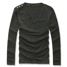Mens Casual Slim fit Stylish T Shirt Uyuk fashion three button male 100% cotton V-neck casual long-sleeve T-shirt
