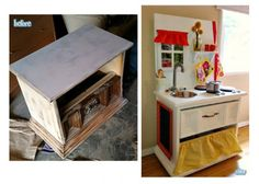 Deep Fried Creative come through with yet another SUPER FUN play kitchen made out of old dysfunctional furniture!  I love these ideas and this IS how I will make a FANTASTIC play kitchen someday!  I love this one's chalkboard on the side too!