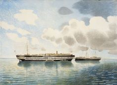 """""""HMS Actaeon"""" by Eric Ravilious, A newly discovered painting, which Eric Ravilious gave to Lieutenant West, an officer serving on HMS Actaeon, which was a floating training and research facility housing the Royal Navy torpedo school in Portsmouth. Art Society, Nautical Art, Garden Painting, Ship Art, Watercolor Techniques, Landscape Paintings, Landscapes, Art Gallery, Fine Art"""