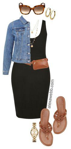 Plus Size Black Bodycon Dress Outfit Ideas - Denim Jacket Plus Size Belt Bag Coin Necklace Sandals - plussize alexawebb Alexa Webb # Black Bodycon Dress Outfit, Black Dress Outfits, Casual Outfits, Summer Outfits, Black Spring Dresses, Fashionable Outfits, Summer Shorts, Paris Outfits, Mode Outfits